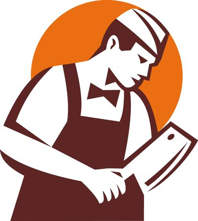 illustration of a Butcher holding meat cleaver illustration