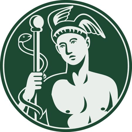 caduceus: Imagery shows Greek God Hermes holding a caduceus enclosed in a circle.