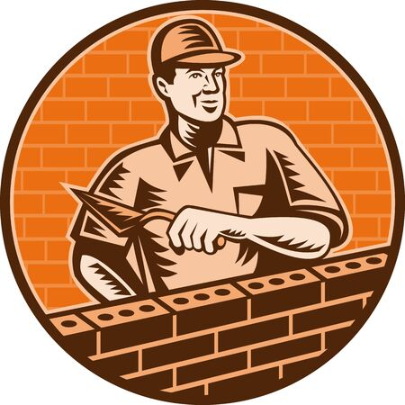 brick mason: illustration of a Mason worker or brick layer holding a trowel working on brick wall done in woodcut style. Stock Photo