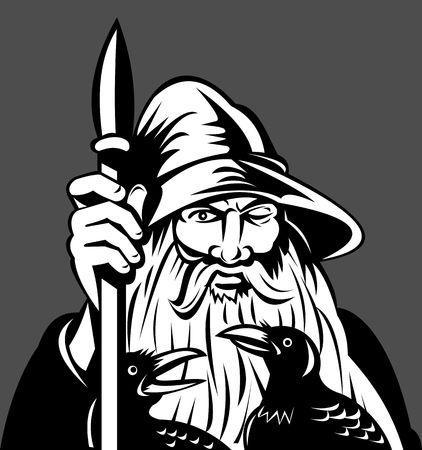 odin: illustration of a Norse God Odin holding spear with ravens Stock Photo