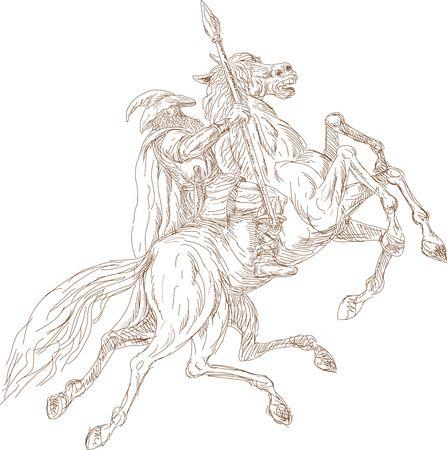 vikingo: N�rdico Dios Odin montando caballo de ocho patas, Sleipner  Foto de archivo