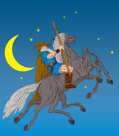 Nordischen Gott Odin Achtgliedriger Pferd, Sleipner Reiten  Lizenzfreie Bilder - 6234085