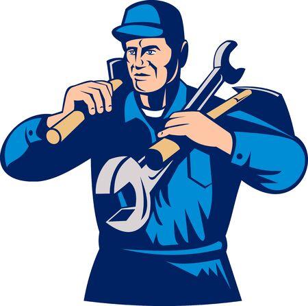 tradesman: illustration of a tradesman handyman worker carrying tools