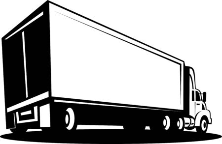 illustration of a Truck and trailer isolated on white background illustration
