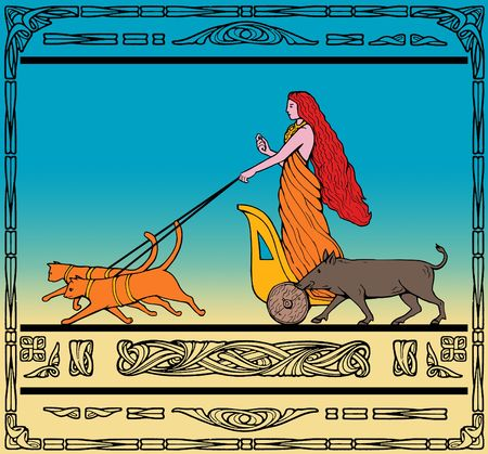 norse: Freya Norse goddess of love and beauty riding a chariot pulled by her two cats and wild boar.