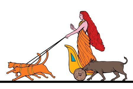 chariot: Freya Norse goddess of love and beauty riding a chariot pulled by two cats and wild boar
