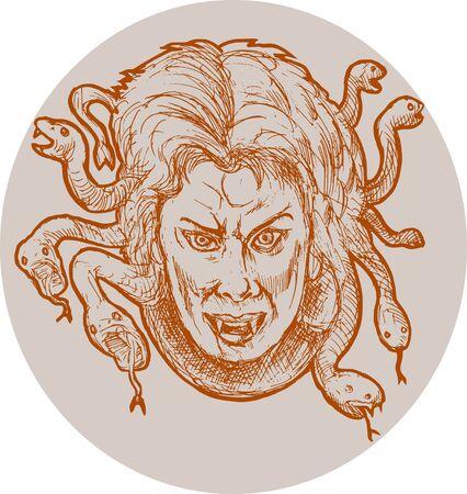 gorgon female monster Medusa of the greek Mythology who has snakes as hair. photo