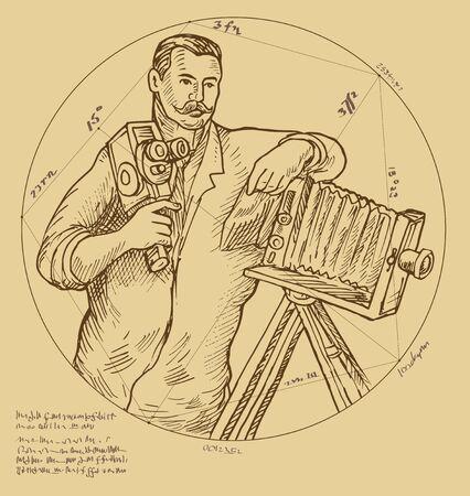 Vintage Photographer holding video camera Stock Photo - 6362825