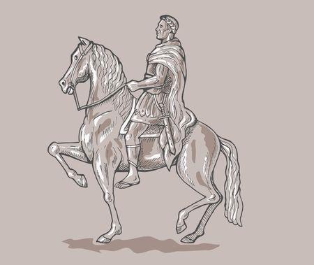 Emperador soldado montar a caballo. Foto de archivo