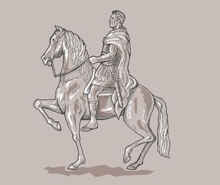 emperor: Roman emperor soldier riding horse.