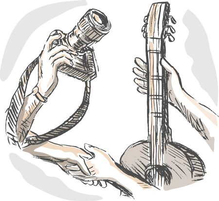 barter: hand sketched illustration of Barter swapping hands with camera and guitar