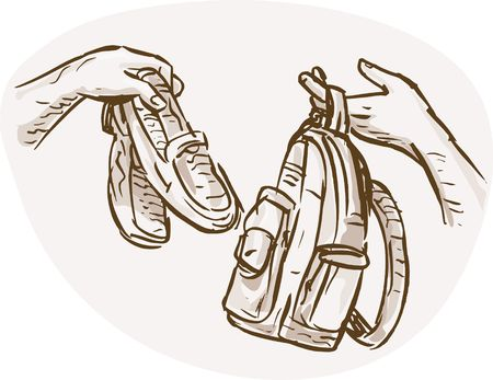 barter: hand drawn sketched illustration of Hands Barter trading or swapping shoes and backpack or bag. Stock Photo