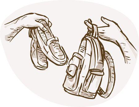 Ilustración esbozada dibujado de manos trueque de comercio o intercambio de zapatos y mochila o bolsa de mano.  Foto de archivo - 6362864
