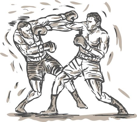 punching: hand sketched drawing of two boxers punching Stock Photo