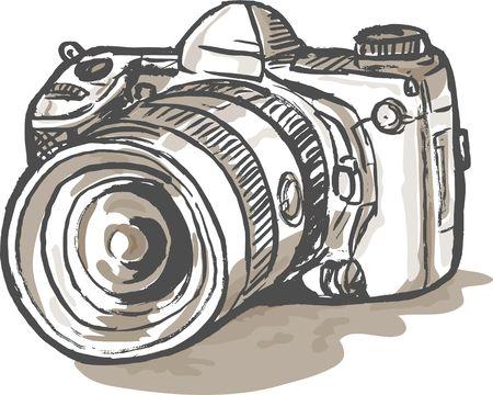 slr: hand sketch drawing illustration of a digital SLR camera