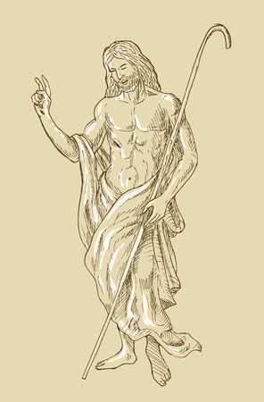jesus standing: hand sketched drawing illustration of the Risen Resurrected Jesus Christ standing