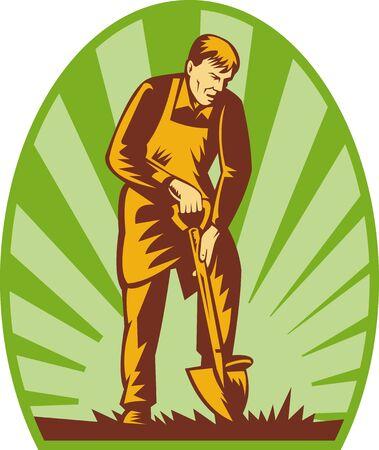 illustration of a Gardener or farmer digging with shovel and sunburst in the background. illustration