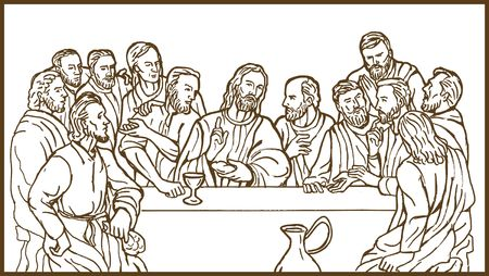 illustration of the last supper of Jesus Christ the savior and his discplles illustration