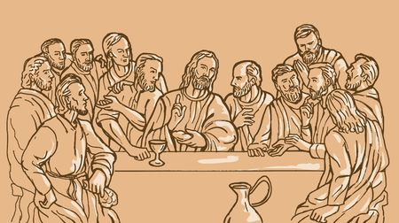 wine dinner: illustration of the last supper of Jesus Christ the savior and his discplles
