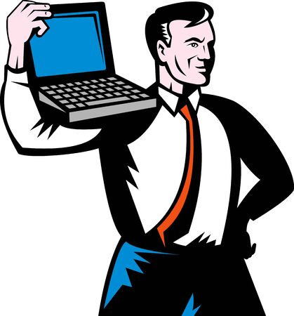 illustration of a Man carrying computer notebook laptop on his shoulders. Stock Illustration - 6362821