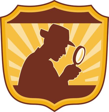 illustration of a male detective inspector with magnifying glass set inside a shield illustration