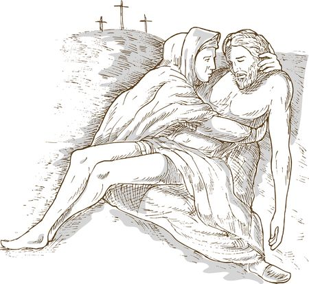 golgotha: hand sketch drawing illustration of Mother Mary and the dead Jesus Christ with the cross of Calvary in the background isolated on white with gray wash