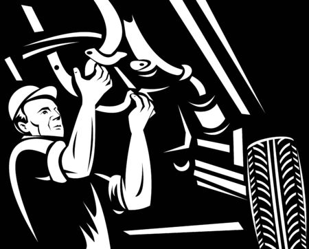 illustration of a car mechanic working underneath a car done in black and white illustration