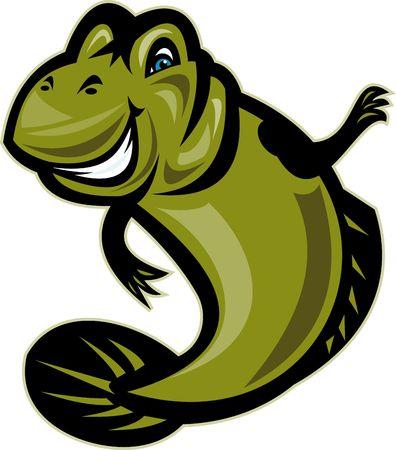 goby: illustrazione di stile cartone animato di un pesce di skipper o Gobiidae Mud  Archivio Fotografico