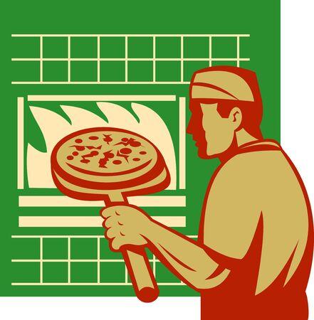 pizza maker: artwork illustration of a Pizza pie maker or baker holding baking pan Stock Photo