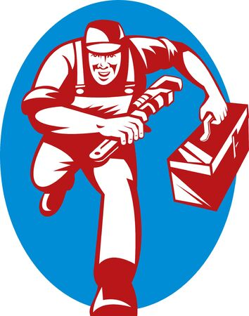 plumbers: illustration of a Plumber with monkey wrench and toolbox running toward the viewer
