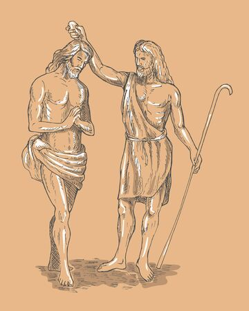 hand sketched illustration of Saint John the baptist baptizing Jesus Christ the savior illustration