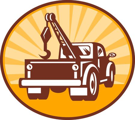 illustration or icon of a Rear view of a tow or wrecker truck Stock Photo