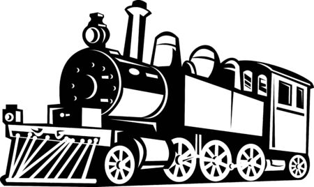 steam locomotive: illustration of a vintage steam train Stock Photo