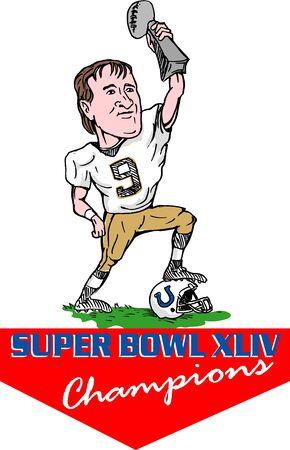 super bowl: Miami, FL  February 7, 2010: New Orleans Saints quarterback Drew Brees holding up Vince Lombardi Trophy after Saints win 31-17 against  Indianapolis Colts at Super Bowl XLIV