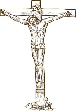 death and dying: hand drawn sketch illustration of Jesus Christ hanging on the cross Stock Photo