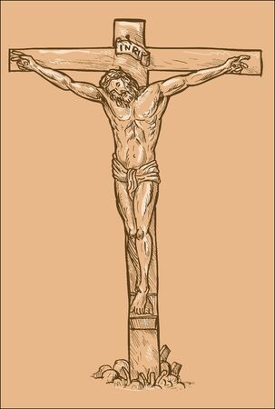 hand drawn sketch illustration of Jesus Christ hanging on the cross with white highlights. illustration