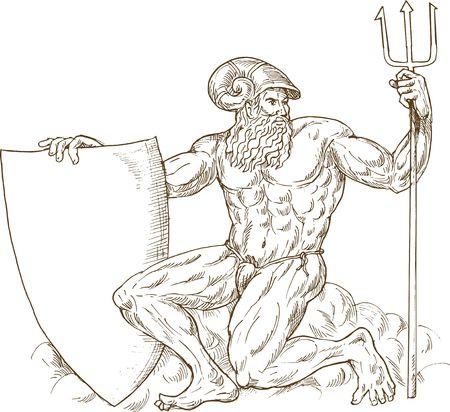 neptuno: dibujado a mano y esboce la ilustraci�n de Neptuno de Dios romano o Poseid�n con tridente y escudo aislados en blanco Foto de archivo