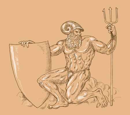king neptune: hand drawn and sketch illustration of Roman God Neptune or poseidon with trident and shield