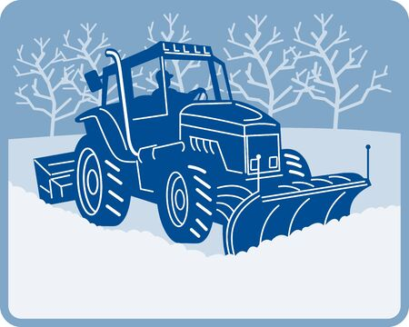 clearing: illustration of a Snow plow tractor plowing winter scene