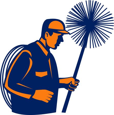 illustration of a Chimney sweeper or cleaner holding sweep isolated on white Stock Illustration - 6532509