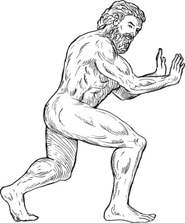 man pushing: hand drawing illustration of Hercules pushing isolated on white Stock Photo
