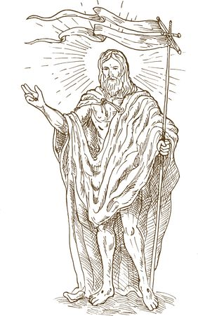 hand sketch drawing illustration of the The Risen or  Resurrected Jesus Christ standing with flag illustration