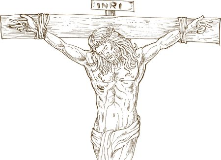 hand drawn  illustration of Jesus Christ hanging on the cross isolated on white illustration