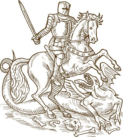 crusader: drawing of Saint George knight and the dragon doen in black and white