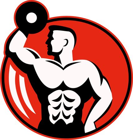 weightlifting: human figure body builder lifting a dumbbell set inside a circle.
