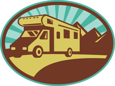 illustration of a Camper van traveling with mountains and sunburst in the background set inside an oval.  illustration