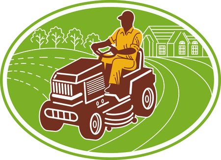 illustration of a male gardener riding lawn mower set inside an oval. illustration