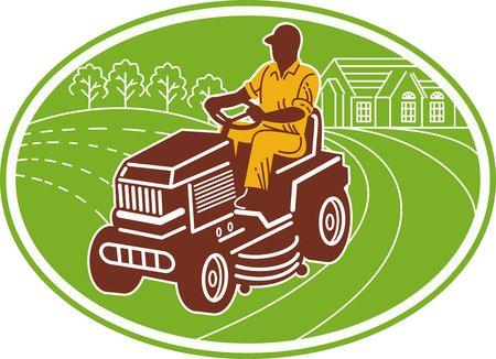 illustration of a male gardener riding lawn mower set inside an oval. illustration