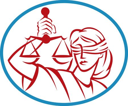 lady justice: illustration of a Lady holding up scales of justice set inside an oval.