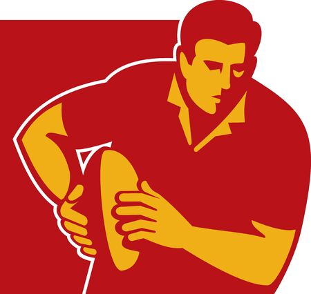 illustration of a rugby player running with the ball front Stock Illustration - 6532494